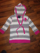 Women's U.S. POLO ASSN. Pull Over Hoodie Size Medium Gray / White / Pink