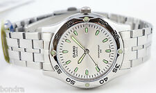 Casio MTP1243D-7A Mens Analog Watch Stainless Steel Silver and Green Dress New