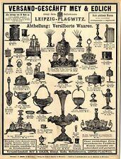 Versilberte Waaren Mey & Edlich Leipzig Bierglas Tafel-Aufsatz XXL- Annonce 1889