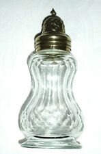 More details for quality vintage facet cut glass sugar sifter/shaker ~ pretty silver plated top