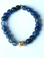 Buddha Armband Achat blau, 925 Silber vergoldet