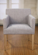 Ex-Display Dining Chair Carver Grey Linen French Provincial Oak Bedroom Armchair