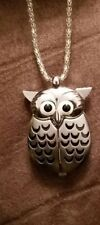 Owl watch necklace/pendant silver and black with silver chain watch behind wings