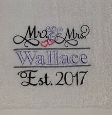 Personalised embroidered wedding towels - 1 pair of bath towels
