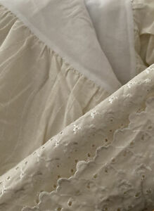 """Springmaid Cotton Blend Eyelet QUEEN Bedskirt -Ivory~ 14"""" Drop / New Old Stock"""