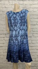 DRESSBARN WOMEN'S BLUE FLORAL PRINT SLEEVELESS DRESS SIZE 14