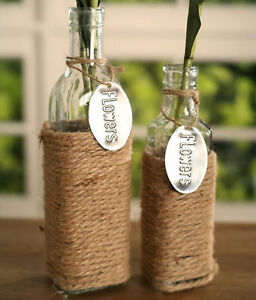 Set of 2 Glass Bottles with Rope French Provincial Home Decor Vase Gift NEW