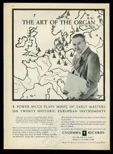 1955 E. Power Biggs organ music Europe map photo Columbia Records print ad