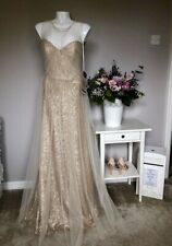 sorella vita Gold Sequin Gown With Tulle Overlay. Size 14