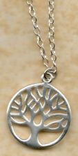 """real 925 sterling silver tree of life pendant necklace charm 18"""" trace chain"""