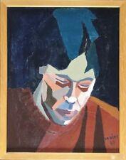 Anne-Marie RÉMY,active XXe.Portrait.1980.Huile sur toile.SBD.34x26.Cadre.