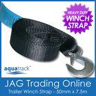7.5M x 50mm H/DUTY BOAT TRAILER WINCH WEBBING STRAP & SNAP HOOK AS/NZS APPROVED