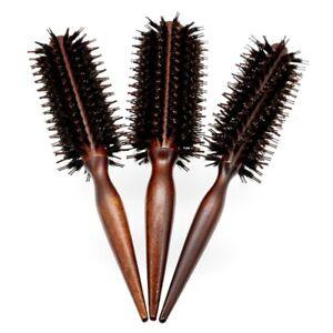 Anti Static Wood Boar Bristle Hair Round Brush Hairdresser Styling Teasing Brush