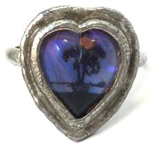 VINTAGE HEART SHAPED RING BUTTERFLY WING TROPICAL PALM TREE SIZE 4