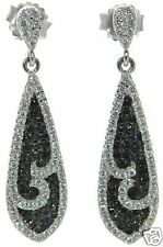 Simulated Diamond Teardrop Earrings ' Solid 925 Sterling Silver Lab