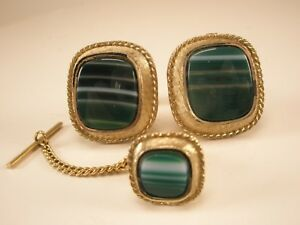 -Green Banded Agate Quality Vintage DANTE Cuff Links & Tie Tack set Celidon gift