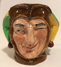 """Royal Doulton """" Jester """" Green Yellow Small Toby Jug"""