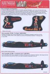 Kits World Decals 1/48 AVRO LANCASTER Mk.I Lonesome Lola & I'm Easy