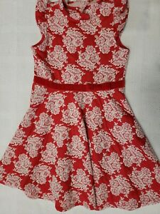 Janie And Jack Girls Red Ivory Floral Dress Size 7 Excellent Used Condition