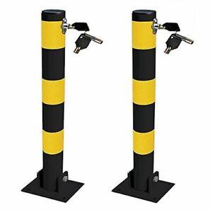2x Round Heavy Duty Folding Bolt Down Security Parking Post Bollard Driveway