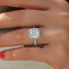 3.00 Ct Asscher Cut White Moissanite Engagement Wedding 925 Sterling Silver Ring