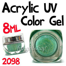 Nail Art Light Sea Green 8ml 0.25oz UV Builder Color Glitter Gel Acrylic Polish
