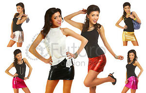 """Sexy Shiny Wet Look Faux Leather Mini Skirt """"RIO"""" Hot Colours Sizes 8-16"""