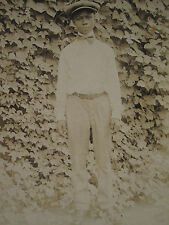 "ANTIQUE AFRICAN AMERICAN ARTISTIC TEEN BOY ""HOLLA"" CLASSIC EDWARDIAN RPPC PHOTO"