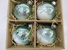 Christmas Coastal Collection Nautical Aqua Green Noel Glass Ornaments Set of 4