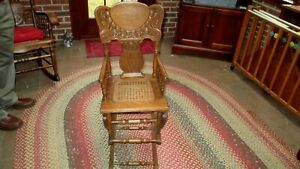 Vtg Wood Oak Childs High Chair converts to Rocker Cane Seat Missing Hardware