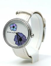 Michael Kors Women's Courtney Stainless-Steel and White Leather Watch MK2716,New