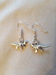 "Handmade tyrannosaurus rex (T-rex) dinosaur pair of earrings (""antique silver"")"