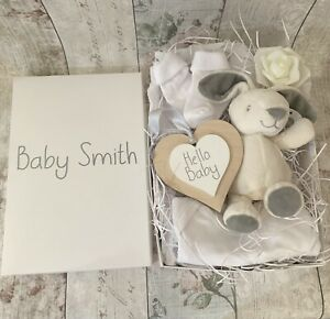 Personalised New Baby Hamper Filled Box Grey And White Shower