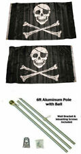 3x5 Jolly Roger Pirate Patch Skull 2ply Flag Aluminum Pole Kit Ball Top 3'x5'