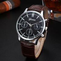 FASHION Dress Leather Strap Band Stainless Steel Analog Quartz Mens Wrist Watch