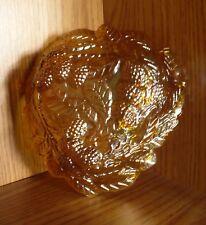 Indiana Glass Grape Leaf & Loganberry Iridescent Marigold Candy Dish Vintage