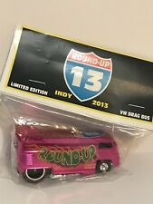 HOT WHEELS 2013 INDY NATIONALS **ROUND UP** PINK CUSTOM VW DRAG BUS  #28/30