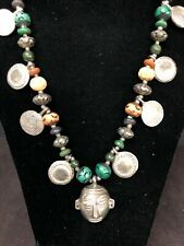 "Vintage 30"" India Beads Necklace Silver Tone,Turquoise, Coral, Ivory Color Beads"