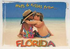 HUGS & KISSES from FLORIDA POSTCARD - 2 CUTE KIDS on WHITE BEACH POSTCARD