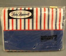 Lady Pepperell Vintage Full Flat Bed Sheet NEW Striped NOS Muslin No-Iron Dacron
