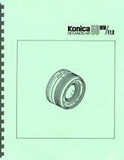 Konica Hexanon AR 50mm F1.8 Lens Service & Repair Manual Reprint