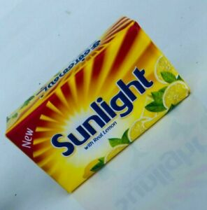 Sunlight Lemon flavored Laundry Bar soap 120g ASHING CLOTHES 100% Cleaning New.