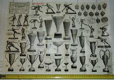 RARE AFFICHE 1920-1930 BRASSART PARIS COUPES FOOTBALL RUGBY STATUETTES ESCRIME