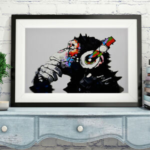 DJ Monkey Canvas Banksy Wall Art Oil Painting Framed Large Graffiti Pictures