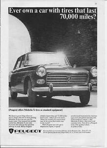 1965 Peugeot Sedan Car Auto Michelin X Tires Original Vintage Poster Print Ad