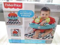 Fisher-Price Sit-Me-Up Floor Seat with Snacking Tray Crab - Red Washable NEW