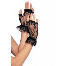 Leg Avenue G1205 Fingerless Lace Gloves With Ruffle Black