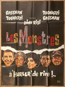 "'LES MONSTRES' BY DINO RISI FRENCH VINTAGE 1963 CINEMA POSTER 63"" x 47"""
