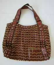 Kooba Brown Leather Studded Knit Weave Hobo Handbag Tote Purse