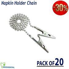 Quality Napkin Holder Flexible Ball Chain Dental Bib Clips Round Neck pack of 20